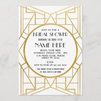 1920's art deco gatsby bridal shower party invite