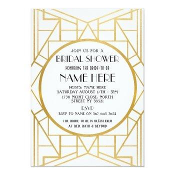 1920's art deco gatsby bridal shower party invite