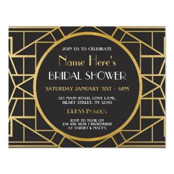 1920s art deco gatsby party bridal shower invite