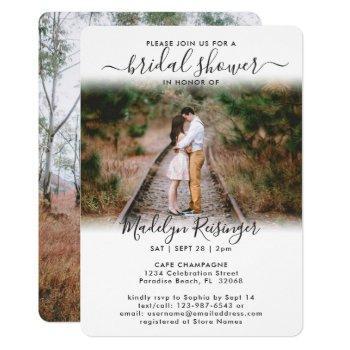 2 photo bridal shower chic modern elegant script invitation