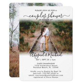 2 photo couples bridal shower chic modern script invitation