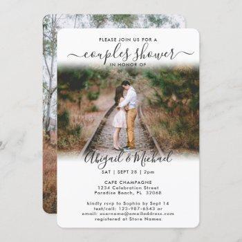 2 photo couples bridal shower chic modern script invitation
