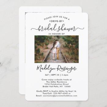 2 photo drive-by social distancing bridal shower invitation