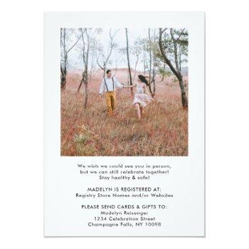 Small 2 Photo Script Virtual Long Distance Bridal Shower Invitation Back View