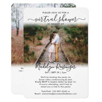 2 photo script virtual long distance bridal shower invitation