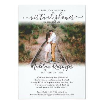 Small 2 Photo Script Virtual Long Distance Bridal Shower Invitation Front View