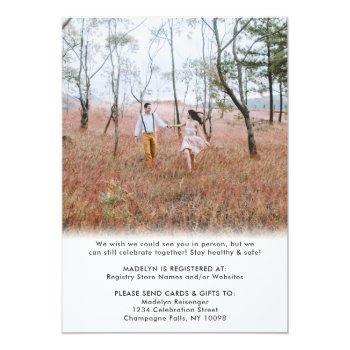 Small 2 Photo Script Virtual Long Distance Bridal Shower Invitation Back View