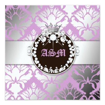 311-damask shimmer queen sweet sixteen purple invitation