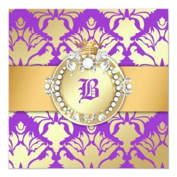 311-royal damask shimmer queen sweet sixteen invitation