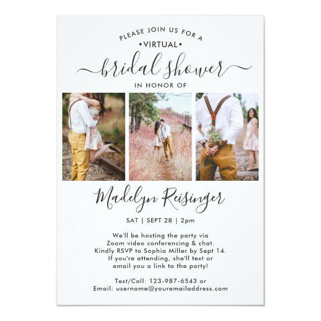 4 Photo Script Virtual Long Distance Bridal Shower Invitation