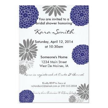 5x7 navy blue & grey bridal shower invitation
