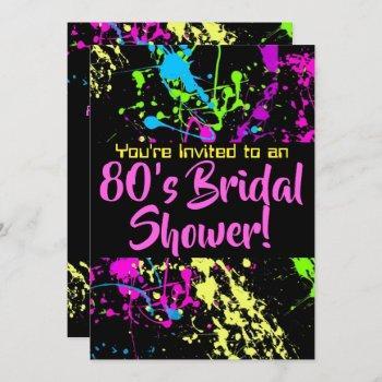 80s bridal shower neon paint splatter invitation