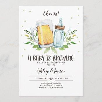 a baby is brewing greenery cheers coed baby shower invitation