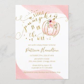 a little pumpkin is on the way elegant baby shower invitation