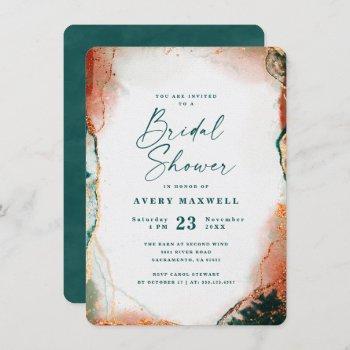 abstract dark teal & copper fall bridal shower invitation