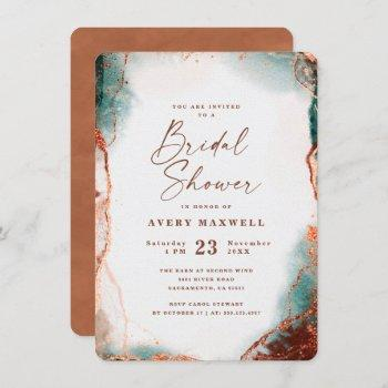 abstract ethereal terra cotta bridal shower invitation