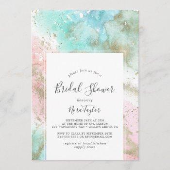 abstract summer watercolor bridal shower invitation