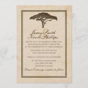 acacia tree african safari vintage wedding invitation