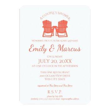 adirondack chairs coral couple's shower invitation