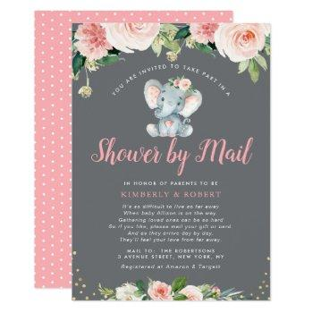 adorable baby elephant pink floral shower by mail invitation