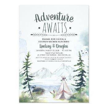 adventure awaits mountains camping couples shower invitation