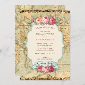 adventure awaits vintage world map roses invitation