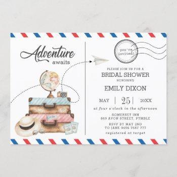 adventure bridal shower travel voyage postage mail invitation