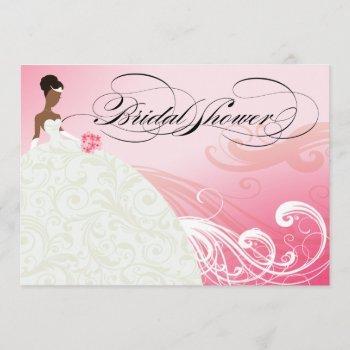 african american bride bridal shower | baby pink invitation