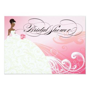 african american bride bridal shower | baby pink invitation