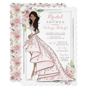african american bride in gown bridal shower invitation