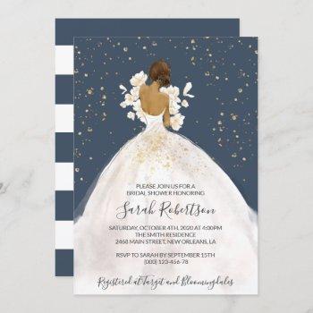 african american bride, wedding dress, bridal invitation