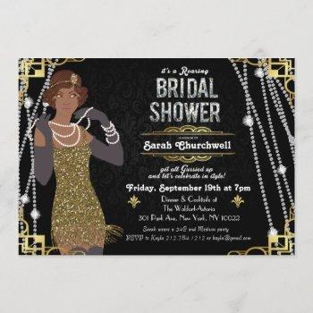 african american flapper bridal shower invitation