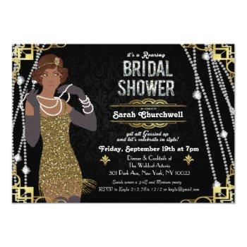 african american flapper bridal shower invitation