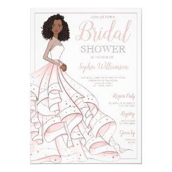 african american glam bride bridal shower invitation
