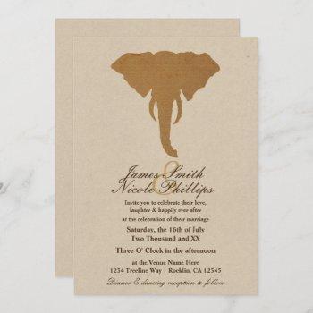 african safari brown wild elephant vintage wedding invitation