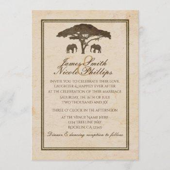 african safari elephants & tree vintage wedding invitation
