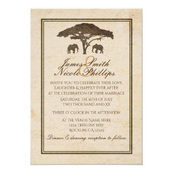 african safari elephants & tree vintage wedding invitation