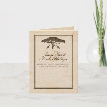 african safari two giraffes & tree vintage wedding invitation
