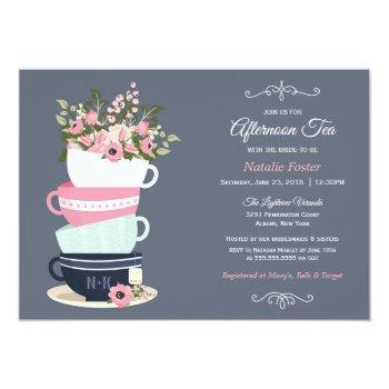 afternoon tea bridal shower invitation | blue pink