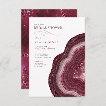 agate geode glitter bridal shower burgundy id647 invitation