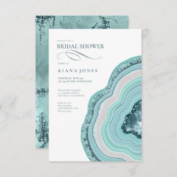 agate geode glitter bridal shower teal id647 invitation