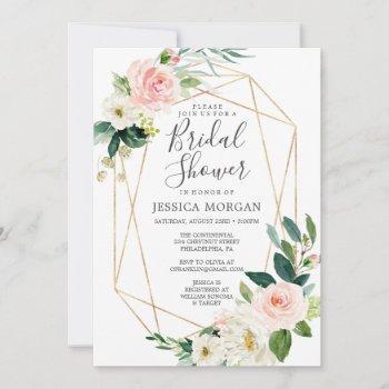 airy blush bridal shower invitation