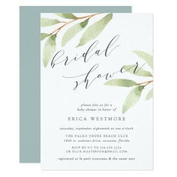 airy botanical bridal shower invitation