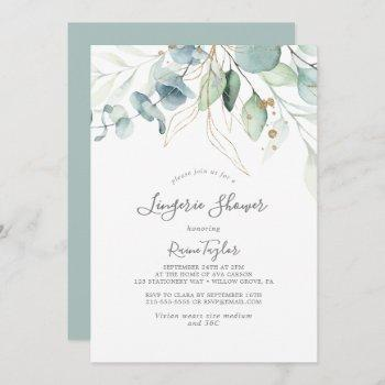 airy greenery and gold leaf lingerie shower invitation