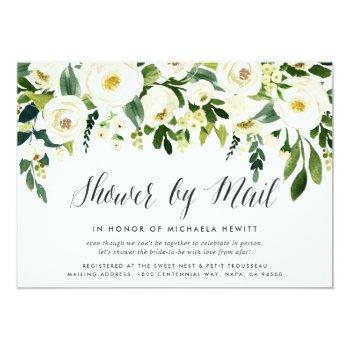 Small Alabaster Floral Bridal Or Baby Shower By Mail Invitation Front View
