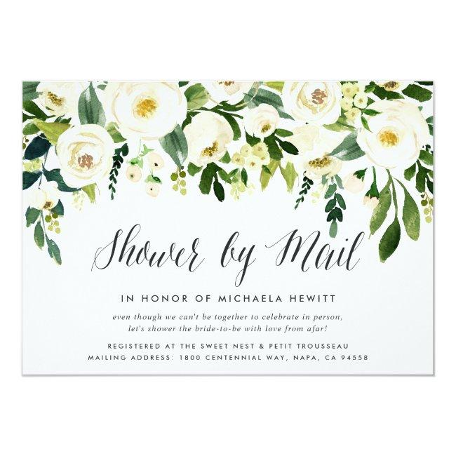 Alabaster Floral Bridal Or Baby Shower By Mail Invitation