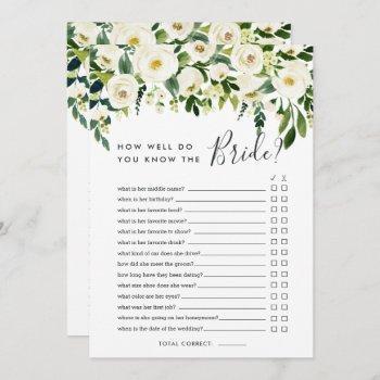 alabaster floral double-sided bridal shower game invitation