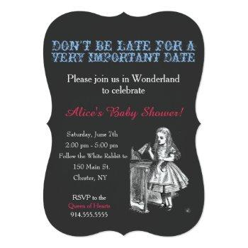 alice in wonderland baby shower custom vintage invitation