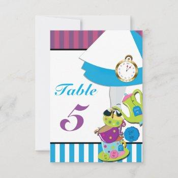 alice in wonderland birthday party table number