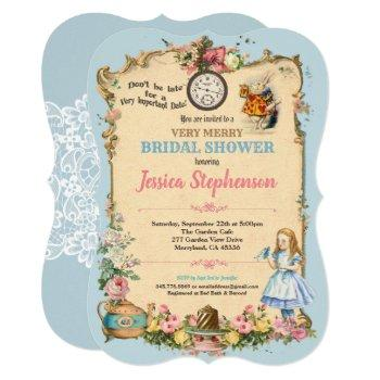 alice in wonderland bridal shower invitaion blue invitation